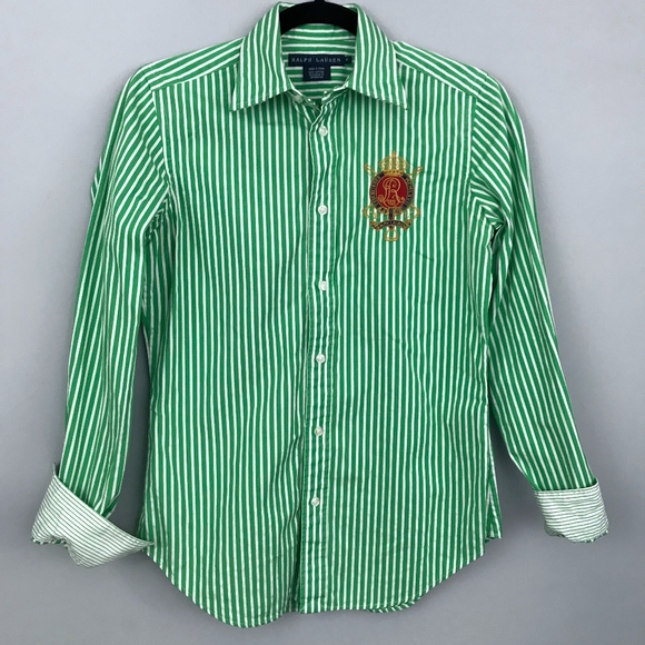 d69c35255572 Ralph Lauren Green White Striped Crest Embroidered.  M_5aa7ff769a9455d70ec38d0d